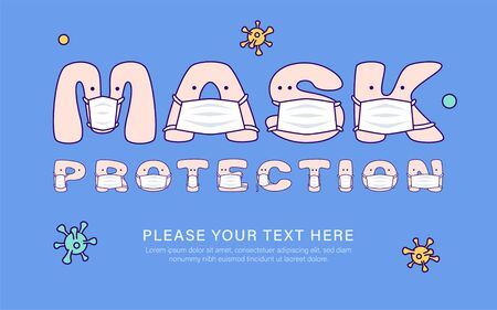 Mask protection inscription on blue background from cute letters in medical masks. Vector illustration for children in cartoon style
