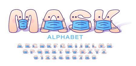 Cute cartoon alphabet in blue medical masks for kids. Set of letters and numbers in medical masks for children. Vector illustration 向量圖像