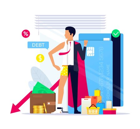 Life on credit as a lifestyle, Credit superhero. Credit Card Debt. Young businessman through the prism of a credit card. Financial freedom concept. Vector illustration