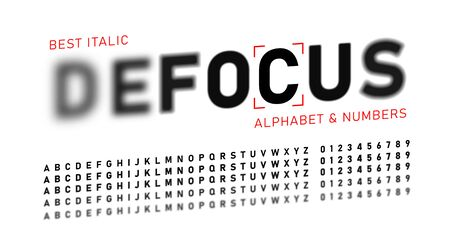 Realistic blurred font. Alphabet with focused and defocused letters and numbers. Italic letters isolated on white background. Vector illustration