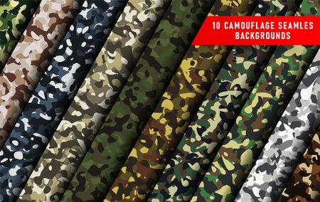 large set of 10 camouflage seamless backgrounds. Seamless woodland pattern. Abstract military or hunting camouflage background. 向量圖像