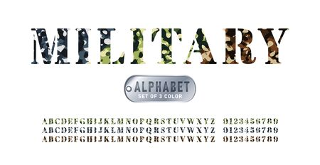 Set of military alphabets in 3 colors. Set of letter and numbers with camouflage background. Camouflage military stencil font isolated on white background. Vector illustration