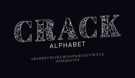Set of font letters and numbers with decorative сracked surface. Broken effect. Isolated white alphabet on black background. Outline style