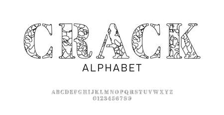 Set of font letters and numbers with decorative сracked surface. Broken effect. Isolated black alphabet on white background. Outline style Vettoriali