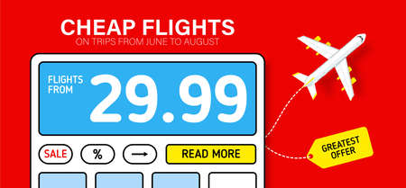 Red banner with calculator. Hot fares for domestic and International flights. Greatest deal on sale flights, book hotels online. Cheap travel offer.