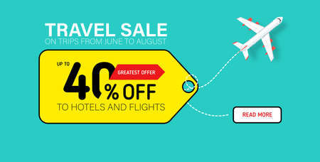 Travel sale banner with yellow tag. Hot fares for domestic and International flights. Greatest deal on sale flights, book hotels online. Cheap travel offer.  イラスト・ベクター素材