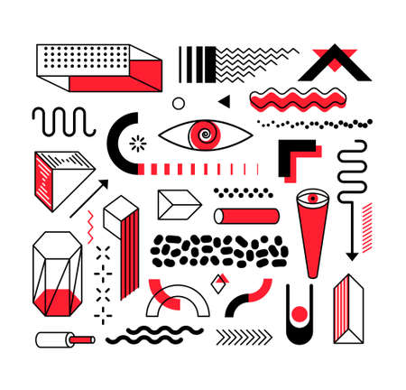Set of abstract trendy geometric shapes and design elements with bright red elements. Memphis design, retro elements for creation advertisement, commercial banners, billboard, sale, poster, leaflet