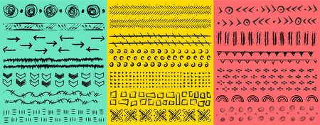 large hand-drawn kit artistic universal patterns with abstract spots, dashes, dots, circles, crosses and waves. Black hand drawn template design elements. Various shapes and doodle objects. Vector