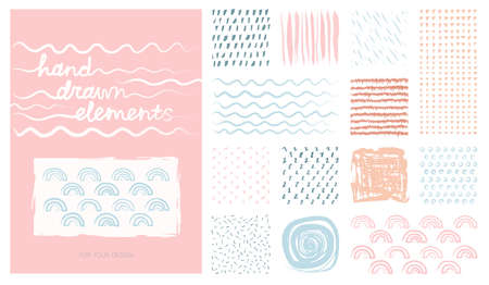 Kit pastel hand drawn artistic square backgrounds and sketch with abstract textures. Useable for anniversary, birthday, Wedding invitation, Valentine's day, party poster - card, brochure, flyer design