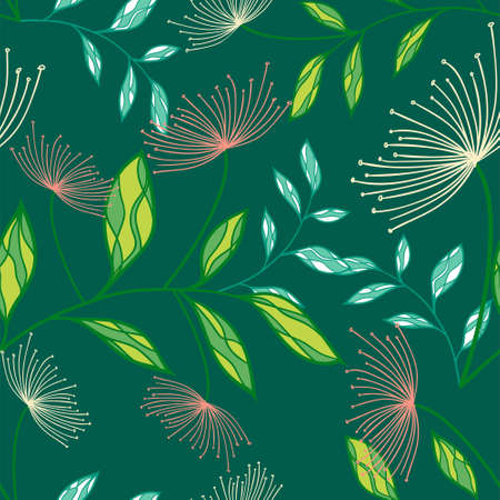 Colorful Tropical exotic palm leaves seamless pattern. Hand drawn palm leaves with contour. Floral background for fabric, textile, T-shirts and wallpaper. Jungle leaves seamless pattern.