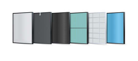 Multi-layer air filter consists of multiple filter layers. Aluminum filter, Coarse fibers, carbon layers, protecting against PM2.5, HEPA filter, fabric layers, air purification layer, ionizer. Vector Vektorgrafik
