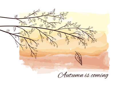 Autumn is coming card with tree branch silhouette. Black outline branch on sunset or dawn in watercolor style. Beautiful postcard with black silhouette tree branch with leaves on watercolor background