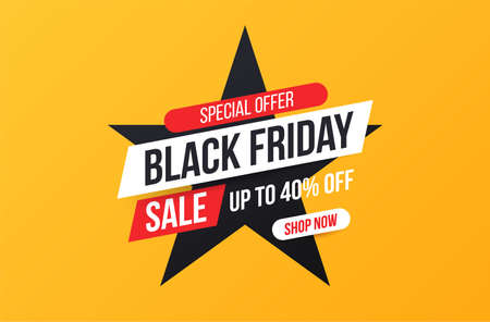 Concise banner for sales and discounts on Black Friday. Black friday star banner for sale and discount. Bright, easily editable vector concept.