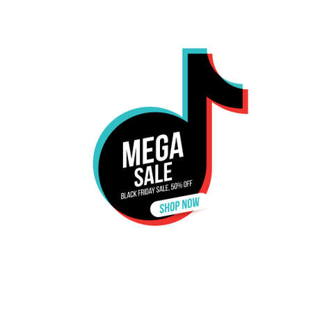 Concise banner for Black Friday, Mega sales and discounts. MEGA SALE inscription on a form of the logo of a famous social network. Easily editable vector concept.