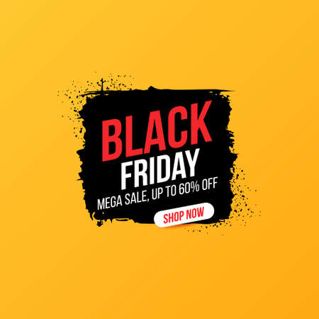 Concise banner for sales and discounts on Black Friday. Black friday inscription on ink brush stain for mega sale. Bright, easily editable vector concept. 向量圖像