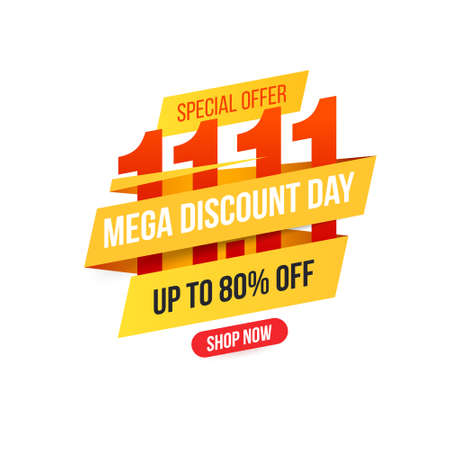 Banner for World shopping day sale 11.11. Shopping day sale and discounts poster. Global shopping world day. Sales online. Isolated on white background