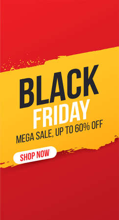 Vertical concise banner for sales and discounts on Black Friday. Black friday inscription on yellow ink stain for mega sale. Bright, easily editable vector concept.