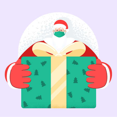 Old bearded Santa Claus with face mask deliver present and gift boxes on xmas eve. Fast speed express delivery. Safe celebratory delivery during quarantine Covid 19 coronavirus. Trendy vector style.