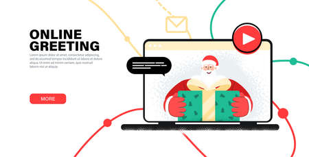 Online greeting merry christmas from Santa. Greeting child with New Year by webcam. Laptop with online greeting from Santa Claus Merry Christmas and Happy New Year via video communication. Illusztráció