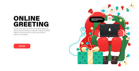Happy Santa Claus working with laptop in cozy, armchair, takes orders, greeting online, checks mail or Answering on children's requests via laptop. Landing page with gifts, garlands around Santa. Illusztráció