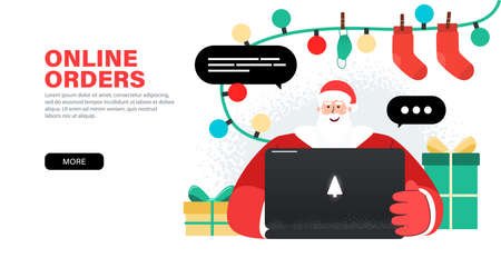 Happy Santa Claus working with laptop, takes orders, congratulations online, checks mail or Answering on children's requests via laptop. Landing page with gifts, gerlands and presents around Santa.