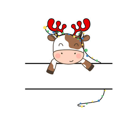 Happy cute little bull in deer headband and garland sitting behind tape with place for text. Greeting card for Merry Christmas and happy new year. 2021 year of the bull. Little ox in outline style.