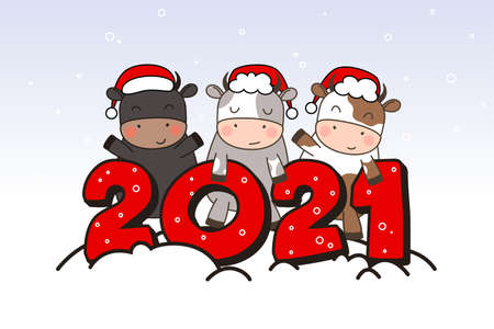 Three Happy cute little bulls in Santa hats stand near the inscription 2021. Greeting card for Merry Christmas and happy new year. 2021 year of the bull. Little ox in outline style.