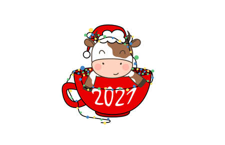 Happy cute little bull in Santa hat sitting in a Cup of coffee with garland. Greeting card for Merry Christmas and happy new year. 2021 year of the bull. Little ox in outline style. Illusztráció