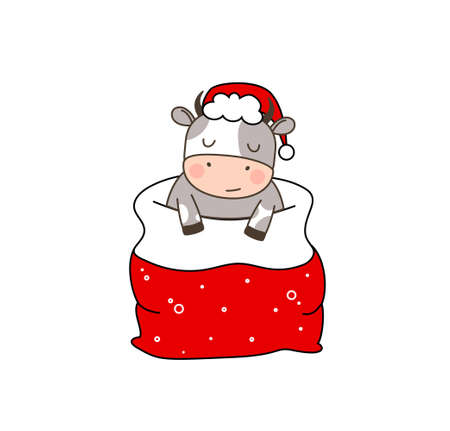 Happy cute little goby in Santa hat sleeping in red santa bag. Greeting card for Merry Christmas and happy new year. 2021 year of the bull. Little ox in outline style sleeping in santa bag.