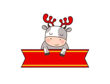 Happy cute little bull in deer headband sitting behind the red ribbon. Greeting card for Merry Christmas and happy new year. 2021 year of the bull. Little ox in outline style with place for text.