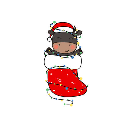 Happy cute little black bull in Santa hat sitting in christmas stocking. Greeting card for Merry Christmas and happy new year. 2021 year of the bull. Little ox in christmas stocking with garland.