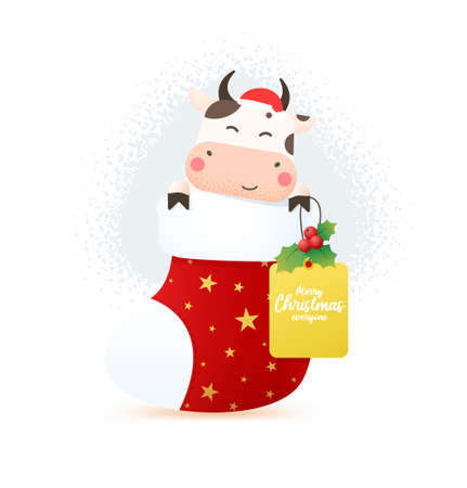 2021 year of the ox. Happy cute bull in Santa hat sitting in christmas stocking and holds a tag for text with mistletoe. Year of the bull. Greeting card for Merry Christmas and happy new year. Illusztráció