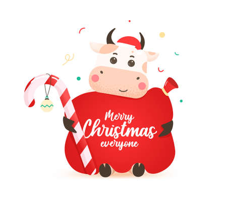 2021 year of the ox. Happy cute bull in Santa hat hugs a large red santa bag. Year of the bull. Greeting card for Merry Christmas and happy new year. Cute ox with Santa bag and candy. Illusztráció