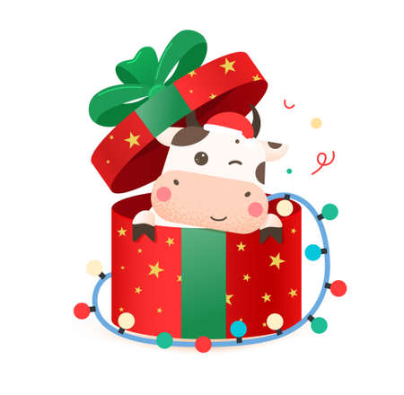 2021 year of the ox. Happy cute bull in Santa hat sitting in red gift box with a bow. Year of the bull. Greeting card for Merry Christmas and happy new year. Cute ox in a red gift box with a garland.