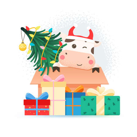 2021 year of the ox. Happy cute bull in Santa hat sitting in cardboard box with Christmas tree. Greeting card for Merry Christmas and happy new year. Ox with gift boxes, garland and Christmas tree.
