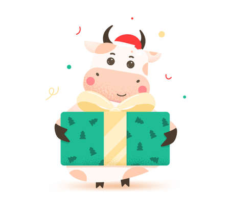 2021 year of the ox. Happy cute bull in Santa hat holding a large green box with a bow. Year of the bull. Greeting card for Merry Christmas and happy new year. Cute ox with a gift. Illusztráció