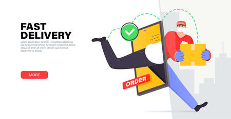 Fast online delivery service package. Courier in mask deliver parcel box through smartphone screen. Modern delivery service. Online shop in your smartphone. Stylish vector illustration in flat style.
