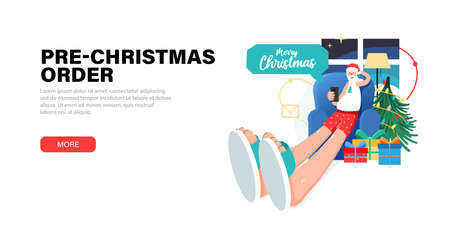 Happy Santa Claus relaxing at home christmas eve sits in a chair and accept pre-orders for gifts, and Answering on children's requests via smartphone. Banner with gift boxes, christmas tree and Santa