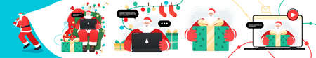 Set of Santa Claus character design with gifts and garlands. Santa working with laptop. Takes orders, greeting online, checks mail, teaches, works or Answering on children's requests via laptop. Illustration