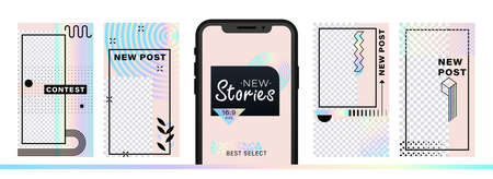 Set of abstract trendy design for stories with dispersion effect. Editable template for social networks stories. For create trendy stories, sales, poster, new posts in memphis and hipster style. Illustration