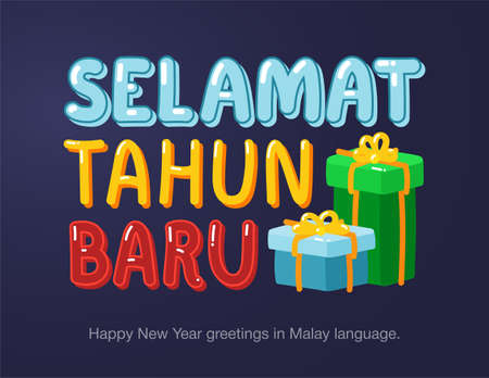 Happy New Year greetings in Malay language in cartoon style. Inscriptions