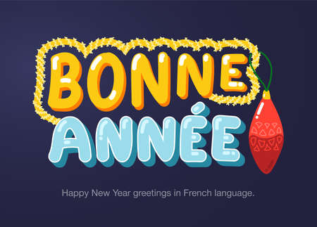 Happy New Year greetings in French language in cartoon style. Inscriptions