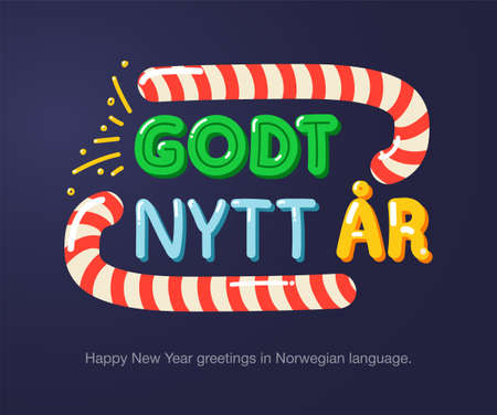 Happy New Year greetings in Norwegian language in cartoon style. Inscriptions