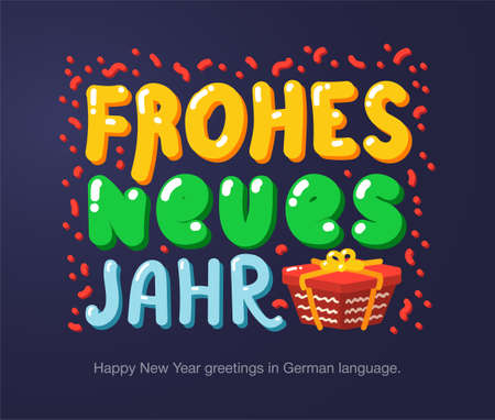Happy New Year greetings in German language in cartoon style. Inscriptions