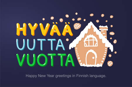 Happy New Year greetings in Finnish language in cartoon style. Inscriptions