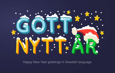 """Happy New Year greetings in Swedish language in cartoon style. Inscriptions """"Happy New Year"""" in Swedish language for posters, greeting card, stickers or prints."""
