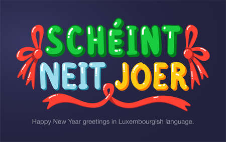 Happy New Year greetings in Luxembourgish language in cartoon style. Inscriptions