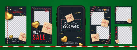 Awesome Stories set for social media with gift boxes and golden hearts for New post. Amazing black banner for sale and discount on Valentine day holiday. 向量圖像