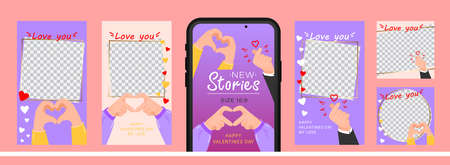 Set of design for stories with I love you heart sign. Editable template for social networks stories. For create trendy stories with message of love using hand gestures.