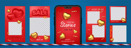 Awesome Stories set for social media with convex sale word and golden hearts for New post. Amazing red banner for sale and discount on Valentine day holiday.